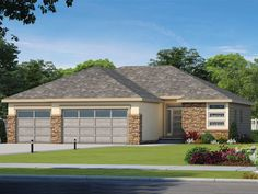 031H-0463: One-Story Contemporary House Plan U Shaped House Plans, U Shaped Houses, Tiny Houses, Dream Houses, House Plans 3 Bedroom, Stucco Exterior, House Plans And More, Design Basics, Contemporary House Plans