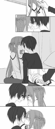 Too shy and nervous to kiss again! m(_ /// _)m  Anime/Manga = Sword Art Online