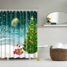 Bathroom Waterproof Merry Christmas Pattern Shower Curtain (COLORMIX,L) in Bathroom Products | DressLily.com