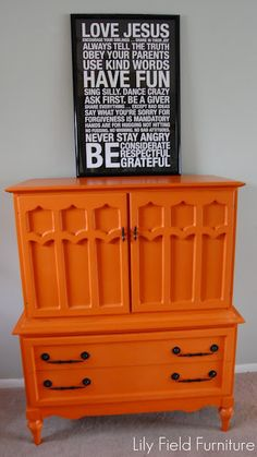 Annie Sloan Chalk Paint™ done in Barcelona Orange by Lily Fields Furniture.