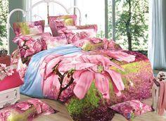 Pink Magnolia Print #3D Duvet Cover Sets #bedding #bedroom #decor
