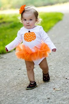Polka Dot Pumpkin Baby Girl Tutu Bodysuit - Fall Halloween Thanksgiving Pumpkin Costume - Sizes Newborn - 24 Months. $28.00, via Etsy.