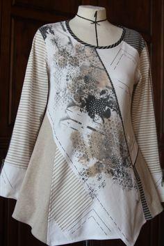 Pat Congleton - Recycled T-shirts. Redo Clothes, Clothes Crafts, Sewing Clothes, Altered T Shirts, Boho Fashion, Fashion Outfits, Sweater Refashion, Recycled T Shirts, Altered Couture
