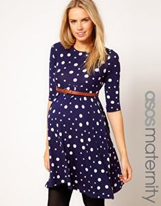 ASOS Maternity Spot Skater Dress With Belt. Not sure what it is with me and blue maternity dresses (I have one, I have one non-maternity dress that I still wear), but I have been obsessing over this one.