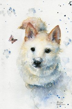 An Akita? Watercolor Paintings by Tanya Shatseva Akita, Watercolor Illustration, Watercolor Paintings, Watercolors, Art Walk, Dog Paintings, Watercolor Animals, Dog Art, Pet Portraits
