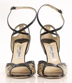 Jimmy Choo Snakeskin and Black Patent Open-Toe Heels.