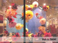 paper flowers window display