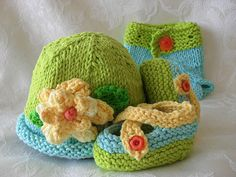 Hand Knitted Baby Hat Citrus ColorsLuscious por CottonPickings, $24.00