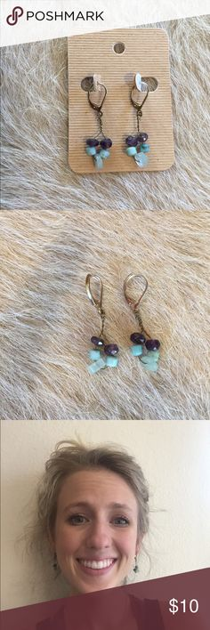 Basic turquoise and purple earrings Easy to throw on and wear for casual or more dressy attire. Classic and simple. Includes African and glass beads. Hope you love! Modeled to show size. All earrings are hand made and can be sold on Etsy for 20% less/discounted shipping. Bundle to save! Anthropologie Jewelry Earrings