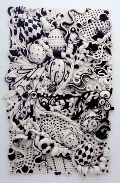 Wow - Black and White Tangle-Laura Schiller