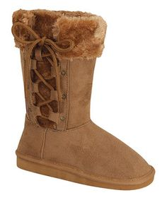 Link Tan Lace-Up Aling Boot by Link #zulily #zulilyfinds