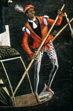 """""""Miracle of the Relic of the True Cross"""" by Vittore Carpaccio. 15th century red jerkin with tied in sleeves and hose"""