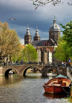 Netherlands. Amsterdam Canal - Church of St. Nicholas