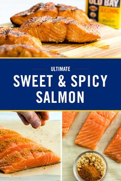 Ultimate Sweet & Spicy Salmon This Sweet & Spicy Salmon will be your new go-to dish for dinner. Brushed with OLD BAY Seasoning and brown sugar, it features a flavorful crust with a tender, juicy center. Grilled Salmon Recipes, Spicy Salmon, Fish Recipes, Seafood Recipes, Cooking Recipes, Healthy Recipes, Quick Salmon Recipes, I Love Food, Fishing
