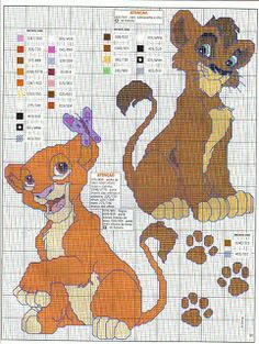 Il re leone. Disney Cross Stitch Patterns, Cross Stitch For Kids, Cross Stitch Love, Counted Cross Stitch Patterns, Cross Stitch Charts, Cross Stitch Designs, Cross Stitch Embroidery, Lilo E Stitch, Stitch Cartoon