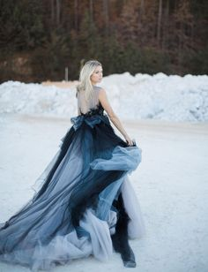 Mywony black and blue wedding dress