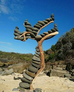 Tag your creative friends. Stone tree!! Photo by: @johnnysrocks