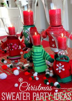 Ugly Christmas Sweater Party Wine Glasses - Oh My Creative christmas xmas party ideas Tacky Christmas Party, Diy Ugly Christmas Sweater, Ugly Sweater Party, Christmas Party Decorations, Xmas Party, Christmas Themes, Holiday Crafts, Party Fun, Christmas Stuff