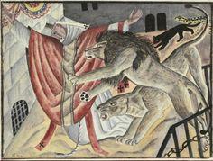 'Martyrdom' (1927) by British painter & printmaker David Jones (1895-1974). Watercolour, pencil & black ink, 6 x 8.25 in. via Offer Waterman