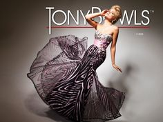 Prom 2013 Sneak Peek: Le Gala by Tony Bowls Style 113535.  Strapless prom dress with jeweled bodice with flower appliqués, wide ruched satin waistband with flower accent and sparkle tulle skirt with goday insets.