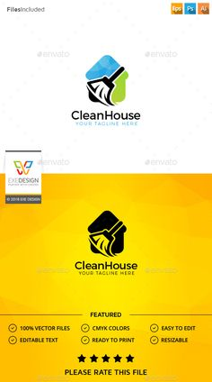 Clean House Logo Template PSD, Vector EPS, AI Illustrator. Download here: http://graphicriver.net/item/clean-house-logo/15708051?ref=ksioks