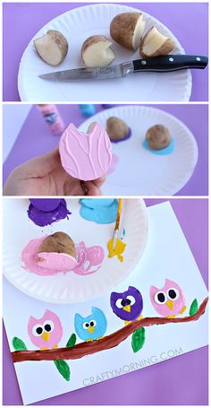 Potato Print Owl Craft for Children - Crafty Morgen - Juna Rosenfeld - . - Potato Print Owl Craft for Children – Crafty Tomorrow – Juna Rosenfeld – - Kids Crafts, Owl Crafts, Animal Crafts, Summer Crafts, Toddler Crafts, Projects For Kids, Diy For Kids, Arts And Crafts, Art Projects