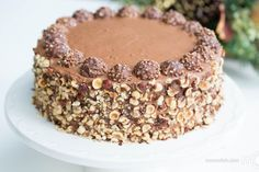 I'm absolutely addicted to Ferrero Rocher candies. They're heavenly and I cannot seem to get enough of them. Perhaps that was my biggest motivation to create an entire cake recipe, based on Ferrero Rocher candies. You will discover that this cake contains very untypical ingredients; only 2 Tbsp of flour, while most of the texture is composed of ground hazelnuts. But don't worry, the texture is still fluffy and full of rich hazelnut flavor. Share your recipe pictures in the comment...
