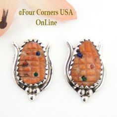 Four Corners USA Online - Spiny Oyster Corn Sterling Post Earrings Native American Zuni Artisan Tracy Bowekaty NAER-1461, $47.00 (http://stores.fourcornersusaonline.com/spiny-oyster-corn-sterling-post-earrings-native-american-zuni-artisan-tracy-bowekaty-naer-1461/)