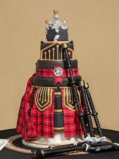 Groom's cake.  Bagpipes and a kilt.  Amazing Scottish cake. Gorgeous Cakes, Pretty Cakes, Amazing Cakes, Scottish Wedding Cakes, Scottish Weddings, Indian Weddings, Plaid Wedding, Kilt Wedding, Wedding Music