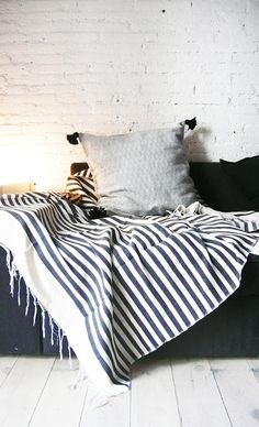 Big Moroccan POM POM Cotton Pillow Cover Black Diamond