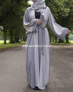 Two-tone Light Grey Open Abaya