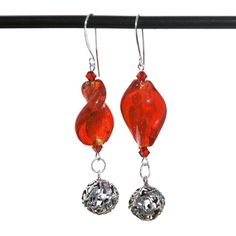 Handmade Swarovski crystal, Red Foil Glass Twist bead and sterling silver filigree charm. Red lampwork foil glass and sterling earrings, by KarmaKittyJewelry on Etsy