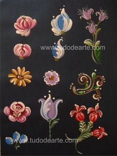 pattern for Bauernmalerei One Stroke Painting, Tole Painting, Fabric Painting, Painting Flowers, Art Populaire Russe, Norwegian Rosemaling, Arte Floral, Learn To Paint, Painting Patterns