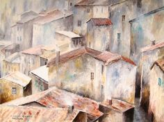 Architecture Painting, Town of the Red Roofs (II) - Fine Art GICLEE PRINT after an original painting by Milena Gawlik