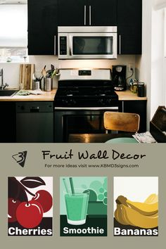 The #fruitwalldecor includes monochrome #canvasprints of #cherryart , #smoothieart , and #bananaart decorating a #blackkitchen in #traditionalstyle . The #prints are available also as #posterprints that allow for #customcolors and customization of caption font, font-size and font-color. For more information about how, request help or inquire about #customdesigns as well as #stylingideas visit our website.