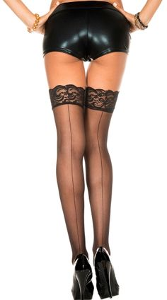 1ed9dcf7b24 Look what I found on  zulily! Music Legs Black Sheer Lace-Top Back