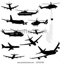 assorted helicopter and airplane silhouettes JPEG