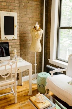 home office with dress form.... perfect for a crafting space