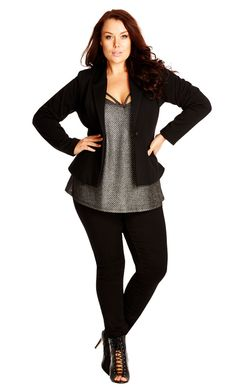 City Chic Smart Ponte Jacket - City Chic Your Leading Plus Size Fashion Destination