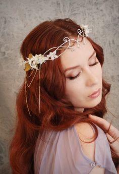Ethereal flower tiara, ivory floral headdress, wedding hair accessories, fairy circlet - Lothiriel.