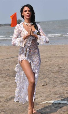 Judi Shekoni on beach photo shoot