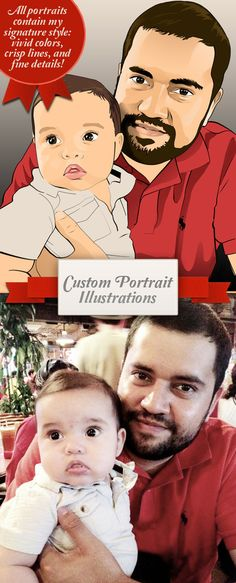 Fathter's Day Gift Family Portrait / Comic Portraits 1 (11x14) Poster Print Great Father's day Gift