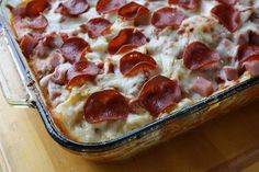 Has been said to be the Best Recipe from Pinterest. A little bit goes a long way so this note that this pan will feed many people or provide you with a lot of left overs. Pizza Casserole