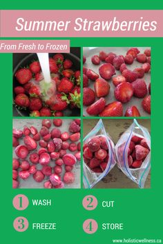 Freeze your fresh picked summer strawberries to lock in their nutrients and enjoy in the fall!