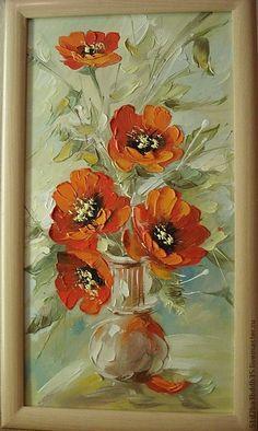 Купить маки - картина, картина в подарок, картина для интерьера, картина маслом, цветы, маки, Живопись