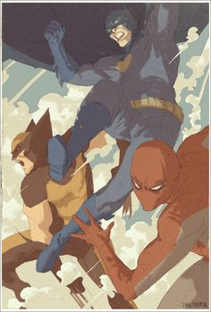 Batman, Wolverine, and Spider-Man by Dave Rapoza *