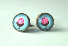 Pink acorn earrings