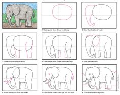 How to Draw an Elephant · Art Projects for Kids - - Learn how to draw an elephant for kids, with my easy step by step tutorial. The steps are simple, yet create a realistic looking animal. Art Drawings For Kids, Drawing For Kids, Easy Drawings, Art For Kids, Drawing Projects, Drawing Lessons, Art Lessons, Drawing Ideas, Drawing Drawing