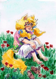 Summer Fox Child by cowsloveclover #yoko #watercolor #fox #poppies