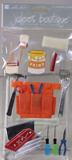 Handyman Paint Remodel Jolee's Boutique Stickers Wrench, Screwdriver, Tool Belt #JoleesBoutique #3Dimensional